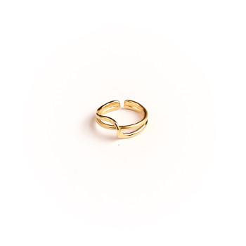 Bague plaqué or Double lien d'amour, bijoux de créateur, vente en ligne, bijouterie