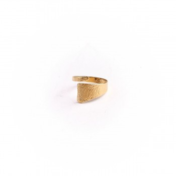 Bague plaqué or Imprimé cuir