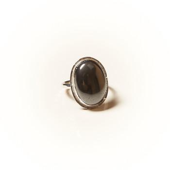 Bague argent Hématite Rosaïa, bijoux de créateur, vente en ligne, bijouterie