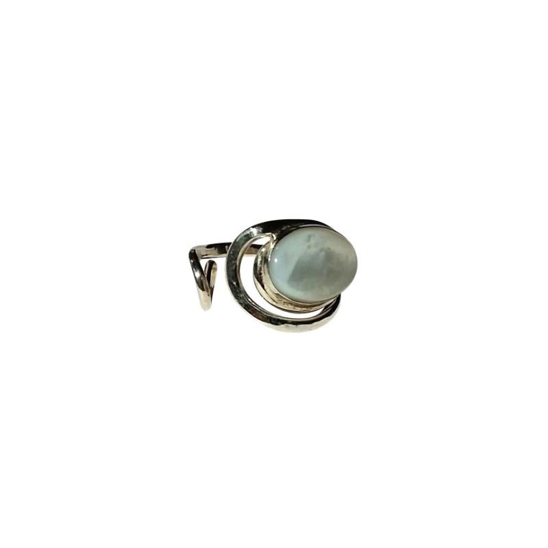 Bague argent Nacre Voluptia, bijoux de créateur, vente en ligne, bijouterie