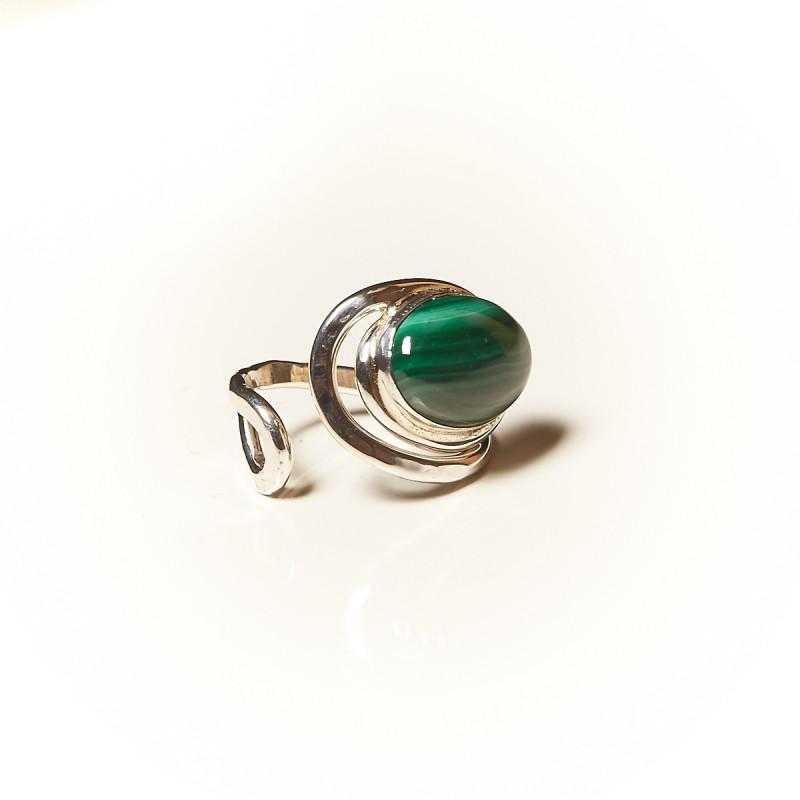 Bague argent Malachite Voluptia, bijoux de créateur, vente en ligne, bijouterie