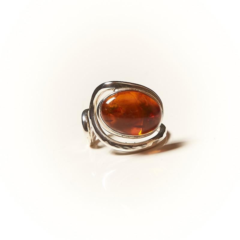 Bague argent Ambre, bijoux de créateur, vente en ligne, bijouterie