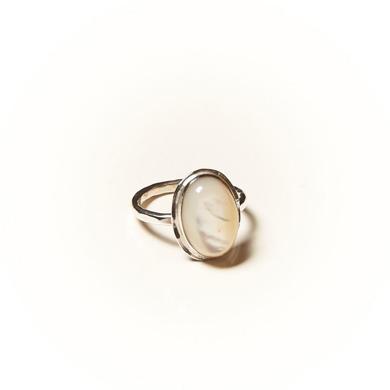 Bague argent Nacre Glaïa, bijoux de créateur, vente en ligne, bijouterie