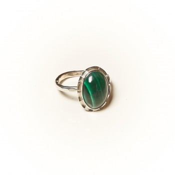 Bague argent Malachite, bijoux de créateur, vente en ligne, bijouterie