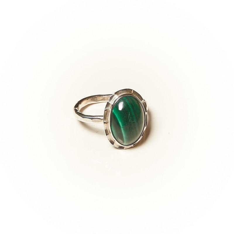 Bague argent Malachite Glaïa, bijoux de créateur, vente en ligne, bijouterie