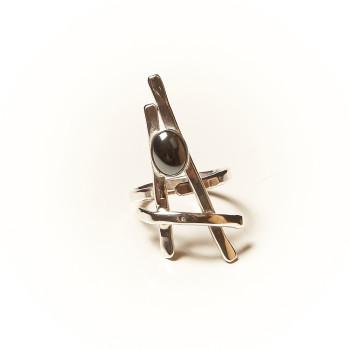 Bague argent Hématite La Belle Parisienne, bijoux de créateur, vente en ligne, bijouterie