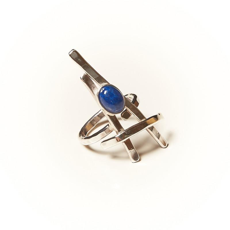 Bague argent Lapis lazuli La Belle Parisienne, bijoux de créateur, vente en ligne, bijouterie