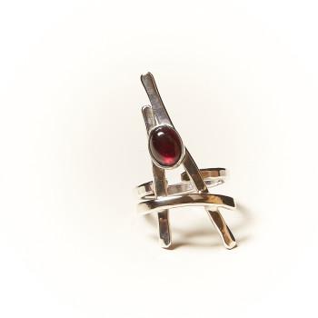 Bague argent Grenat La Belle Parisienne, bijoux de créateur, vente en ligne, bijouterie