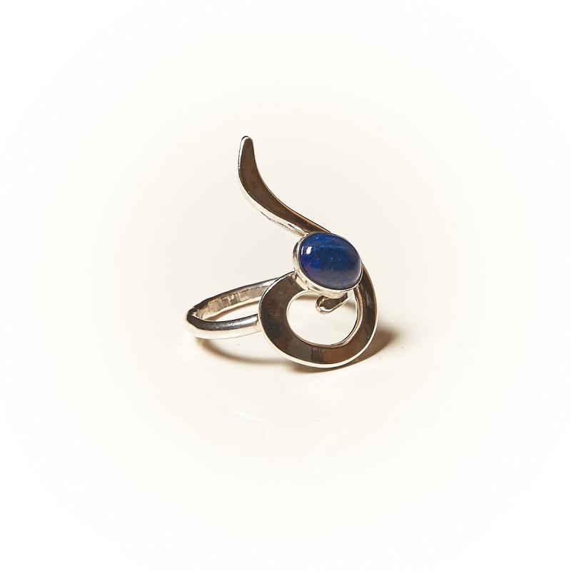 Bague argent Lapis lazuli Lizae, bijoux de créateur, vente en ligne, bijouterie