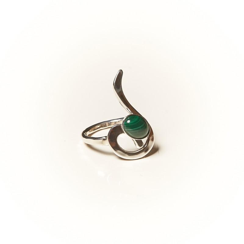 Bague argent Malachite Lizae, bijoux de créateur, vente en ligne, bijouterie