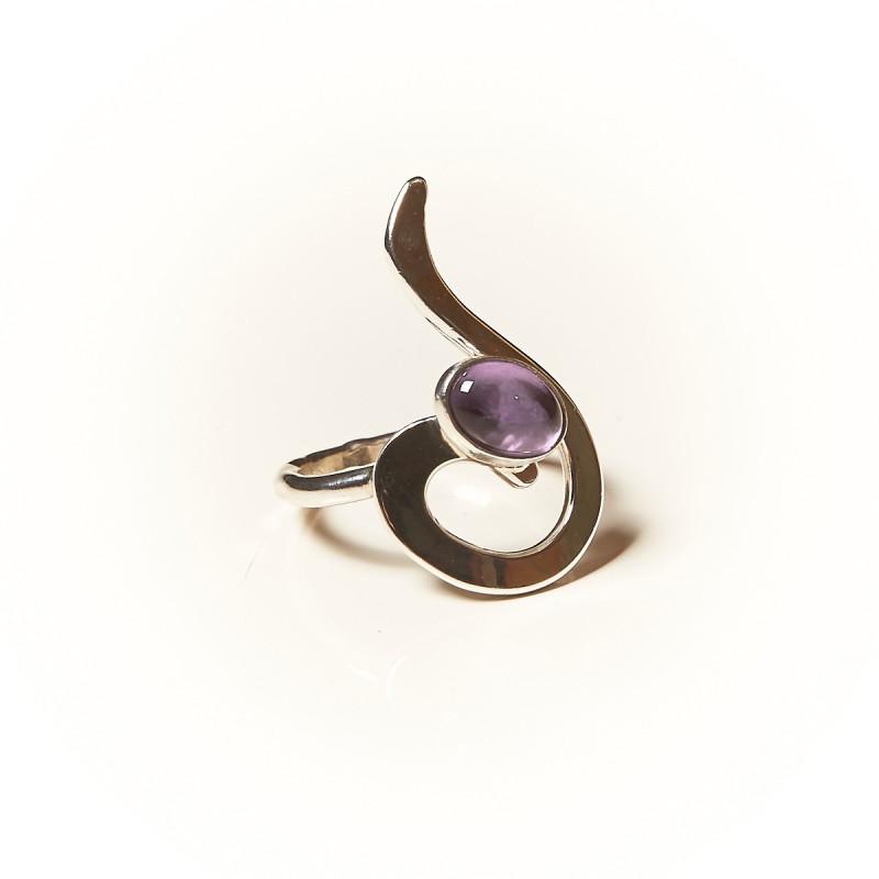 Bague argent Améthyste Lizae, bijoux de créateur, vente en ligne, bijouterie