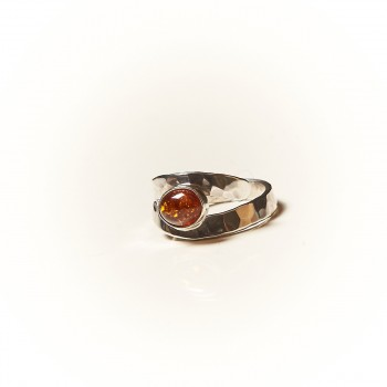 Bague argent Ambre Emulsia, bijoux de créateur, vente en ligne, bijouterie