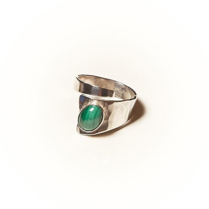 Bague argent Malachite Romae, bijoux de créateur, vente en ligne, bijouterie