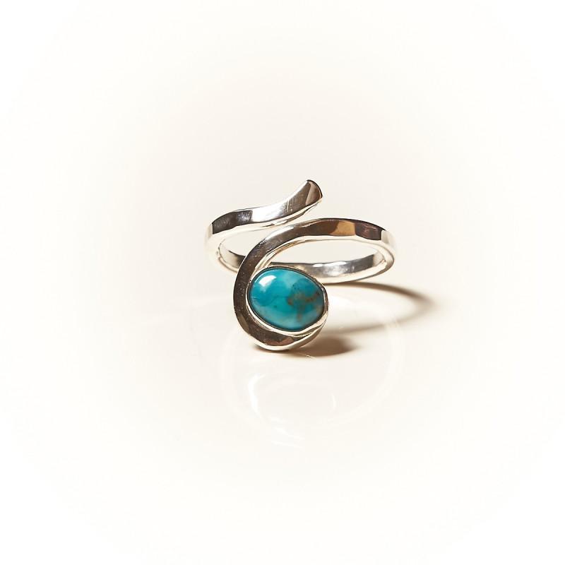 Bague argent Turquoise Perce neige, bijoux de créateur, vente en ligne, bijouterie