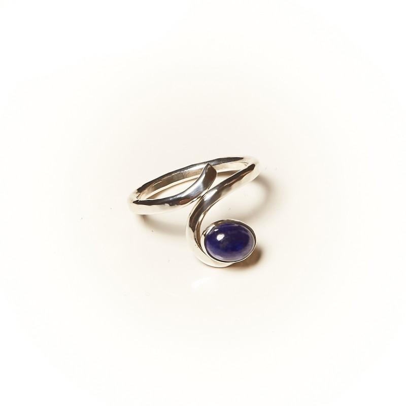 Bague argent Lapis lazuli Perce neige, bijoux de créateur, vente en ligne, bijouterie