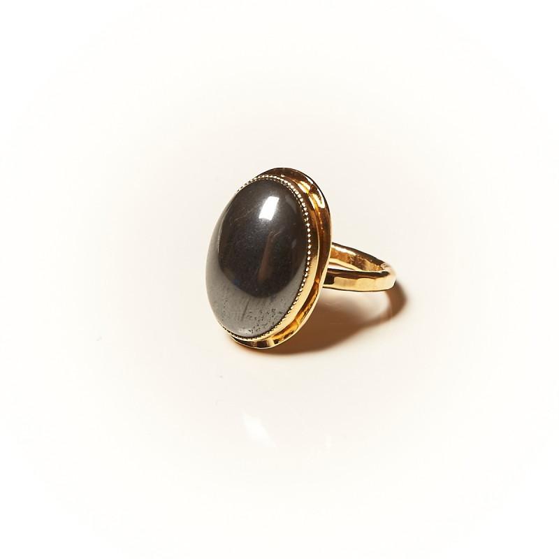 Bague plaque or Hématite, bijoux de créateur, vente en ligne, bijouterie