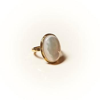 Bague plaqué or Nacre Rosaïa, bijoux de créateur, vente en ligne, bijouterie