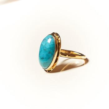 Bague plaqué or Turquoise Rosaïa, bijoux de créateur, vente en ligne, bijouterie