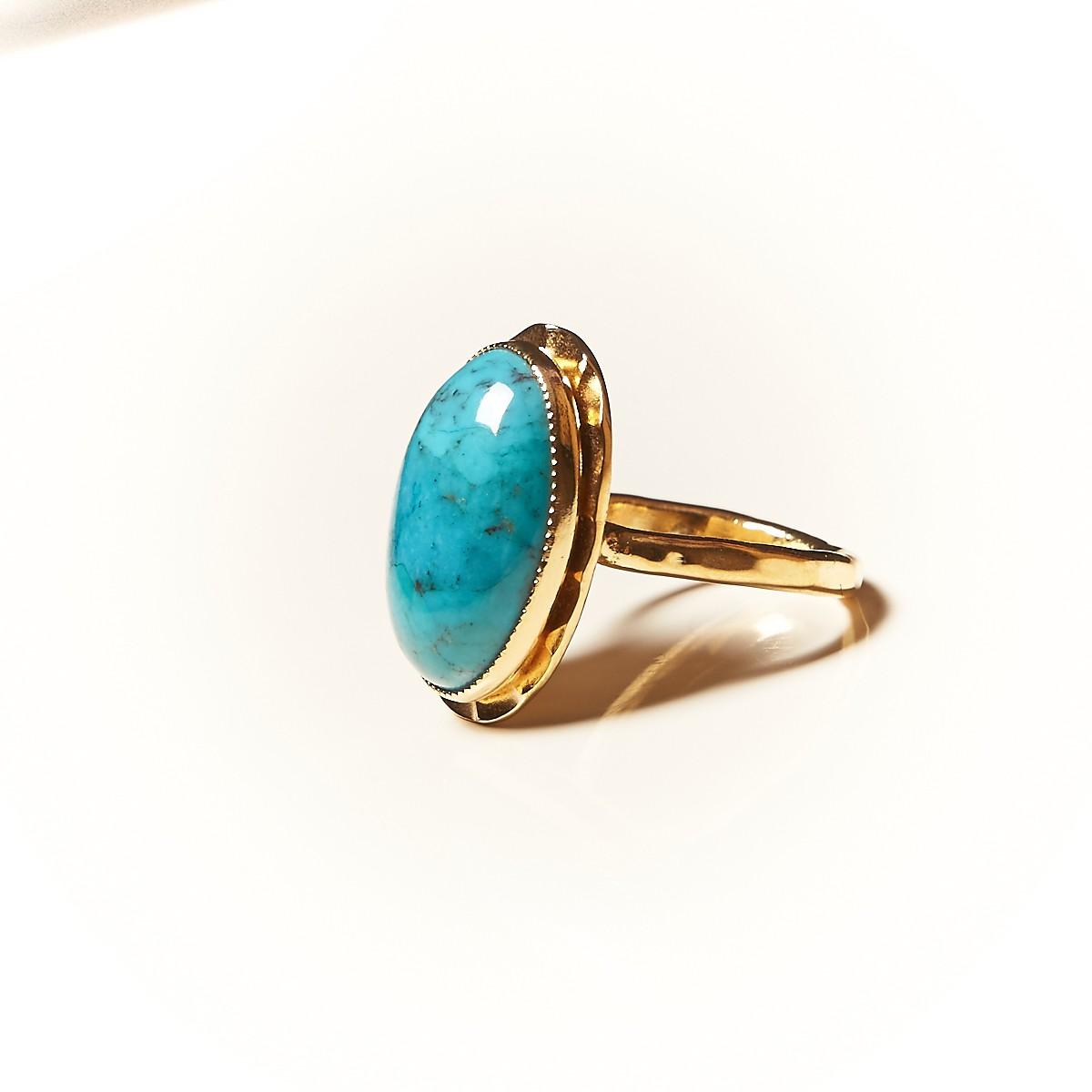 2210431fad50c2 Bague plaqué or avec turquoise 9 - Goupil bijoux d'art