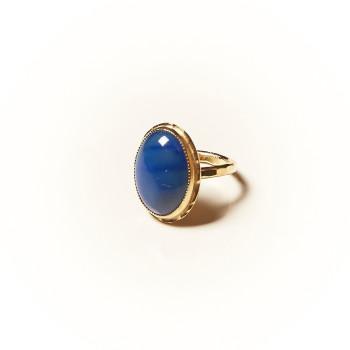 Bague plaqué or Lapis lazuli Rosaïa, bijoux de créateur, vente en ligne, bijouterie