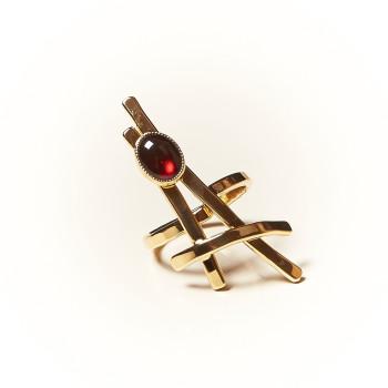 Bague plaqué or Grenat La Belle Parisienne, bijoux de créateur, vente en ligne, bijouterie