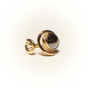 Bague plaqué or Hématite Voluptia, bijoux de créateur, vente en ligne, bijouterie