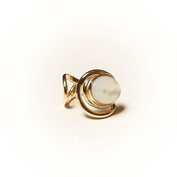 Bague plaqué or Nacre Voluptia, bijoux de créateur, vente en ligne, bijouterie