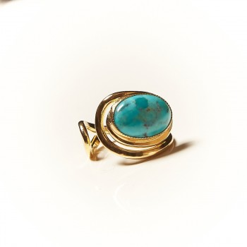 Bague plaqué or Turquoise, bijoux de créateur, vente en ligne, bijouterie