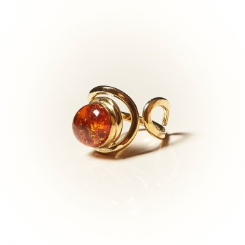 Bague plaqué or Ambre Voluptia, bijoux de créateur, vente en ligne, bijouterie