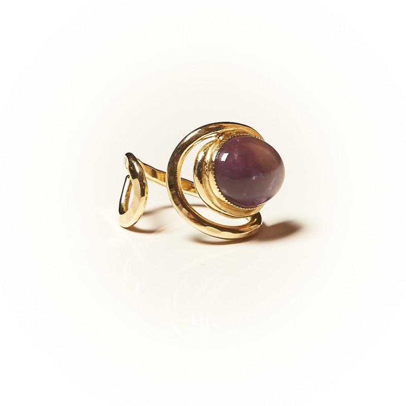 Bague plaqué or Améthyste Voluptia, bijoux de créateur, vente en ligne,  bijouterie