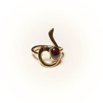 Bague plaqué or Grenat Lizae, bijoux de créateur, vente en ligne, bijouterie