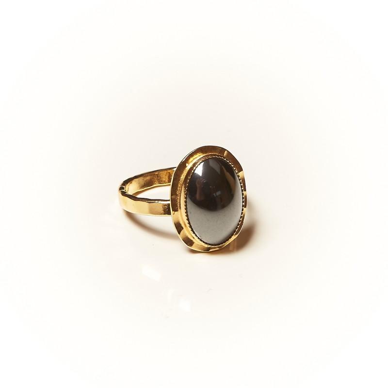 Bague plaqué or Hématite Glaïa, bijoux de créateur, vente en ligne, bijouterie