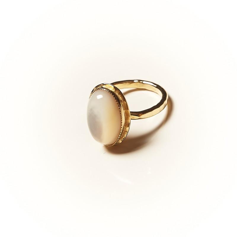 Bague plaqué or Nacre Glaïa, bijoux de créateur, vente en ligne, bijouterie