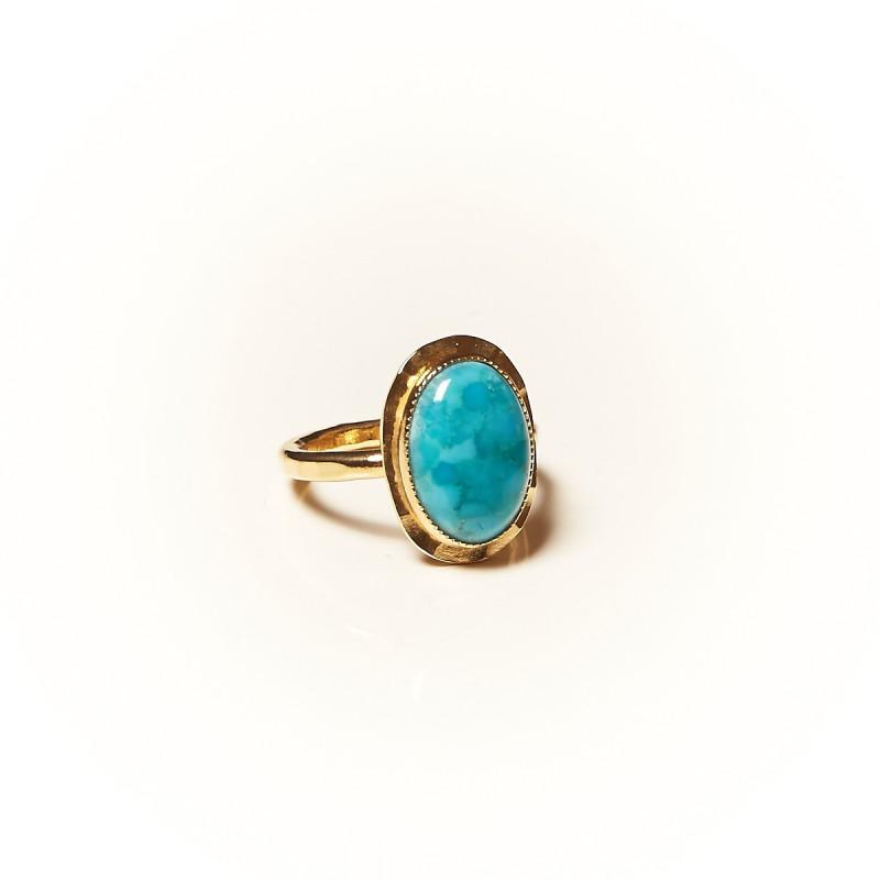 Bague plaqué or Turquoise Glaïa, bijoux de créateur, vente en ligne, bijouterie