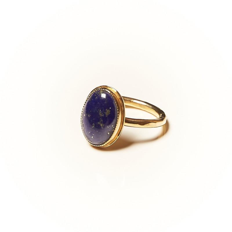 Bague plaqué or Lapis lazuli Glaïa, bijoux de créateur, vente en ligne, bijouterie