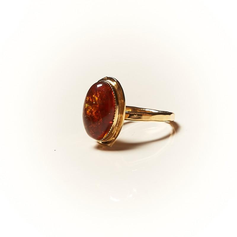 Bague plaqué or Ambre Glaïa, bijoux de créateur, vente en ligne, bijouterie