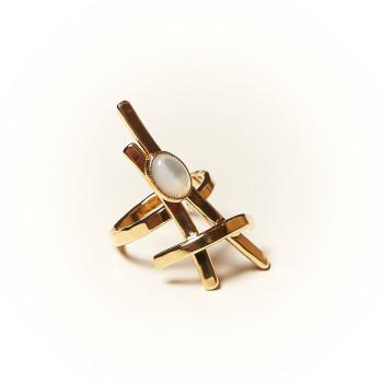 Bague plaqué or Nacre La Belle Parisenne, bijoux de créateur, vente en ligne, bijouterie