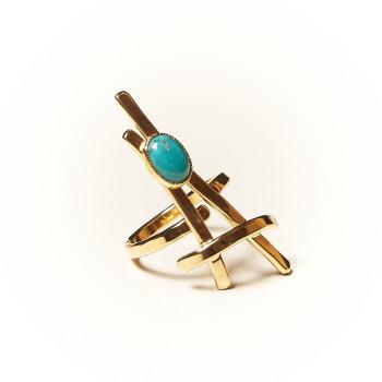 Bague plaqué or Turquoise La Belle Parisienne, bijoux de créateur, vente en ligne, bijouterie
