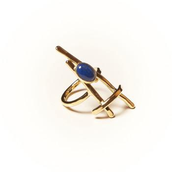 Bague plaqué or Lapis lazuli La Belle Parisienne, bijoux de créateur, vente en ligne, bijouterie