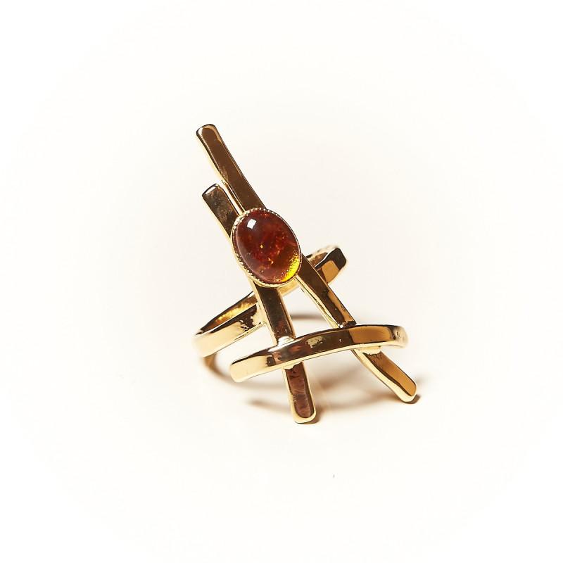 Bague plaqué or Ambre La Belle Parisienne, bijoux de créateur, vente en ligne, bijouterie
