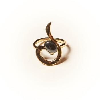 Bague plaqué or Hématite Lizae, bijoux de créateur, vente en ligne, bijouterie