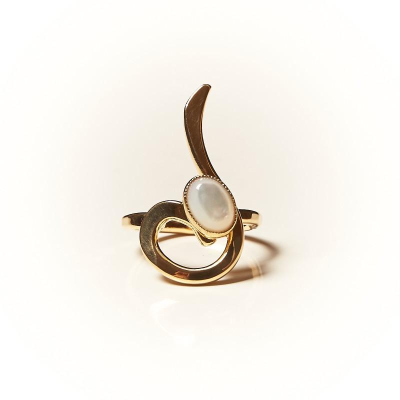 Bague plaqué or Nacre Lizae, bijoux de créateur, vente en ligne, bijouterie