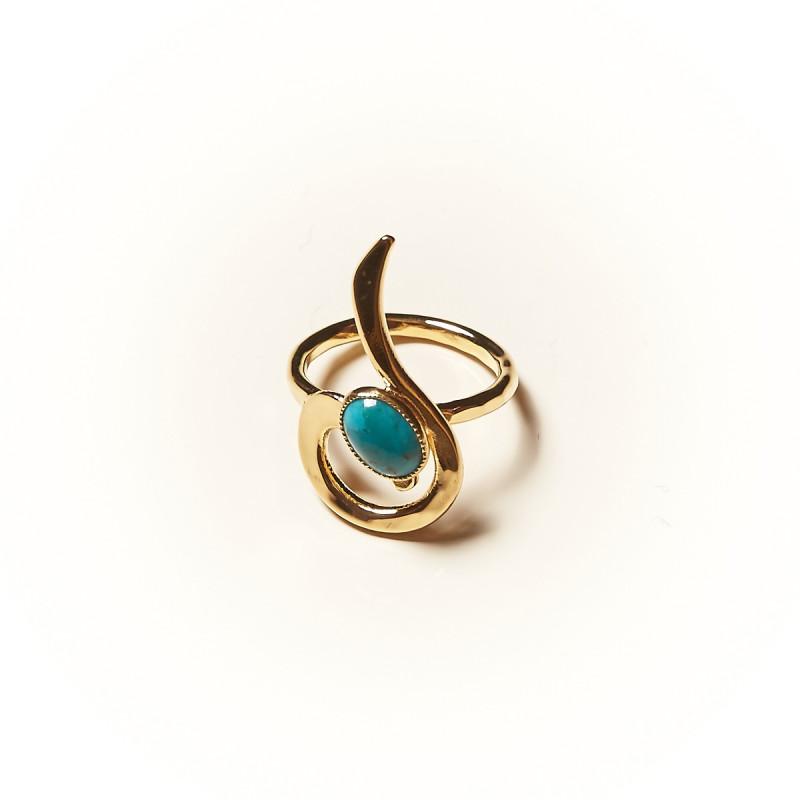 Bague plaqué or Turquoise Lizae, bijoux de créateur, vente en ligne, bijouterie
