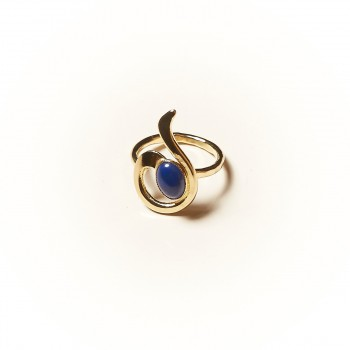 Bague plaqué or Lapis lazuli Lizae, bijoux de créateur, vente en ligne, bijouterie