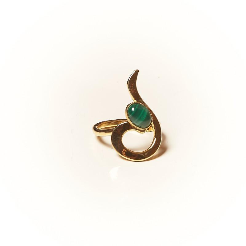 Bague plaqué or Malachite Lizae, bijoux de créateur, vente en ligne, bijouterie