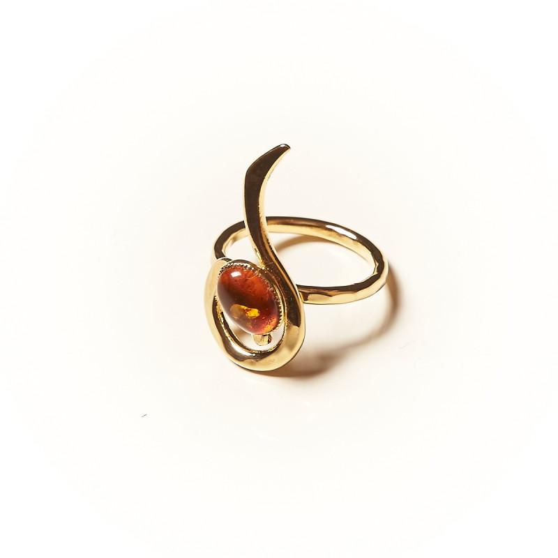 Bague plaqué or Ambre Lizae, bijoux de créateur, vente en ligne, bijouterie