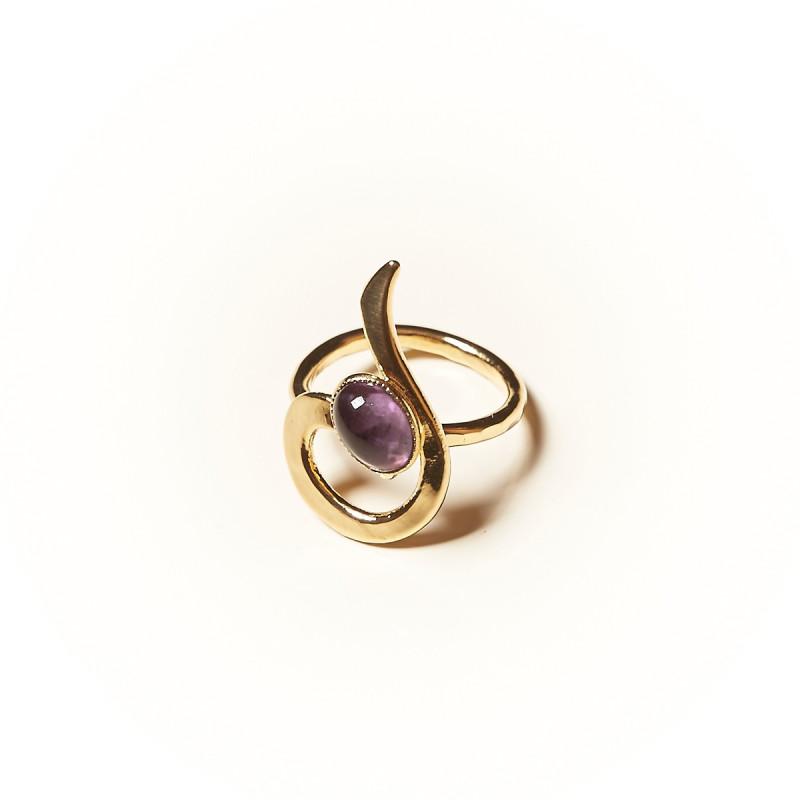 Bague plaqué or Améthyste Lizae, bijoux de créateur, vente en ligne,  bijouterie