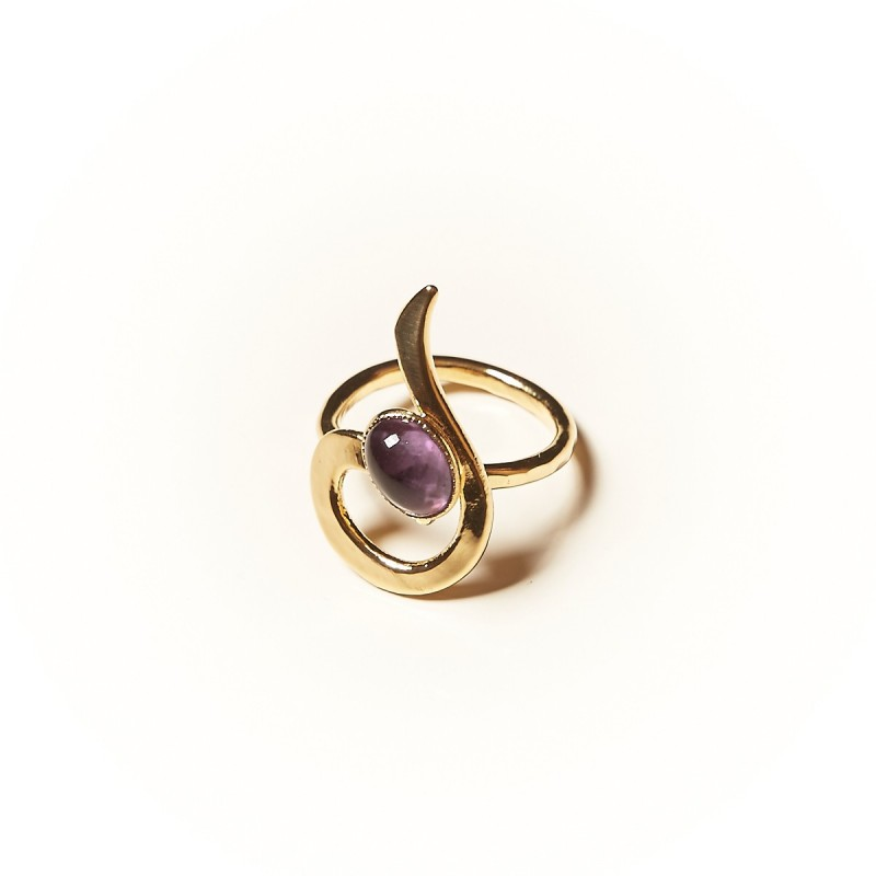 Bague plaqué or Améthyste, bijoux de créateur, vente en ligne,  bijouterie