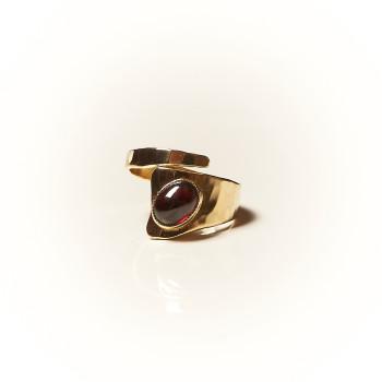 Bague plaqué or Grenat Romae, bijoux de créateur, vente en ligne, bijouterie