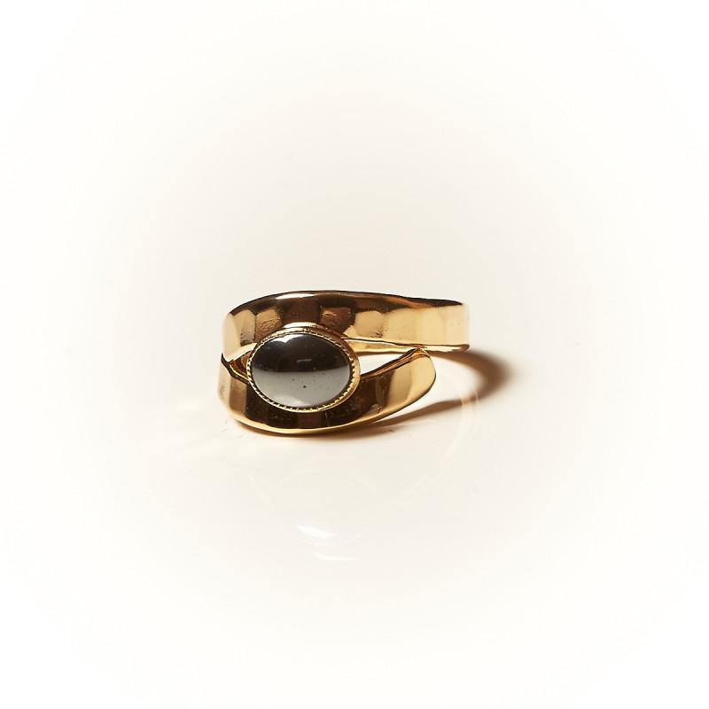 Bague plaqué or Hématite Emulsia, bijoux de créateur, vente en ligne, bijouterie